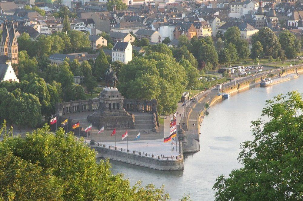 Koblenz uitzicht op Deutsche Eck